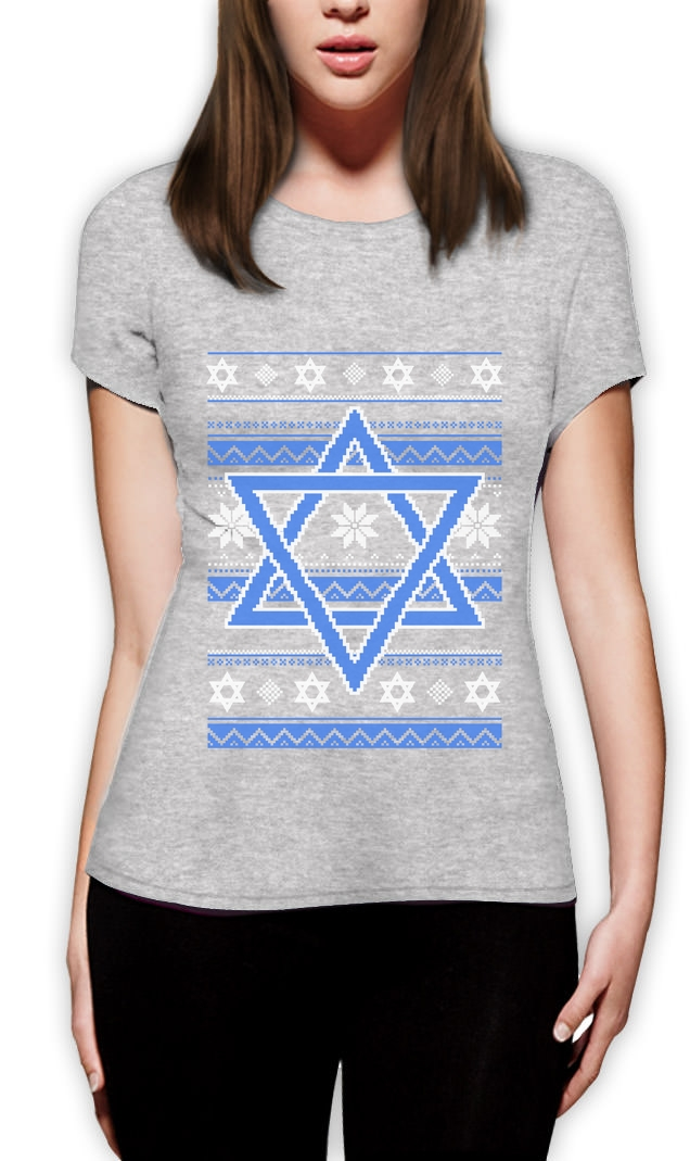 2018 Fashion Hannukah Nights Ugly Holiday Sweater Star of David Women T-Shirt Jewish Gift Casual Short Sleeve Shirt Tee