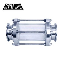MEGAIRON 2 OD 51mm Tri Clamp Type Flow Sight Glass Diopter For Homebrew Diary Product Stainless