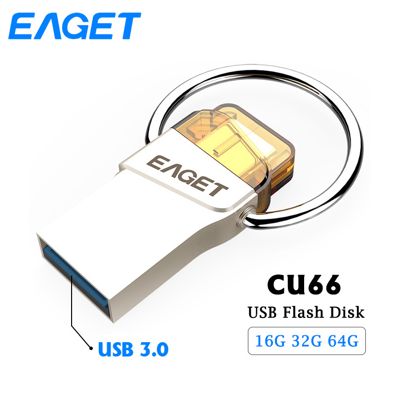 Eaget CU66 Type C Usb 3.0 flash drive 16GB 32GB 64GB Pen Drive High Speed Flash Disk Pendrive Metal Waterproof Memory USB stick eaget otg usb flash drive 8gb 16gb 32gb 64gb pen drive 32gb usb 3 0 high speed flash disk pendrive usb stick for xiaomi phone pc