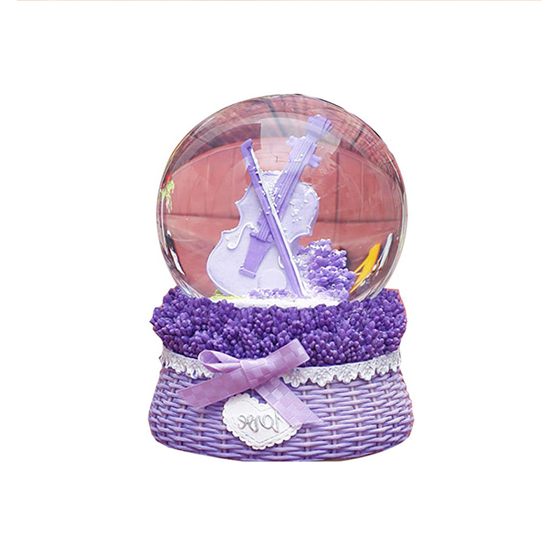 Creative Purple Crystal Ball Music Box Decor Lavender Windmill Water Ball Rotating Snowflake Music Box Snowball For Lovers Gifts