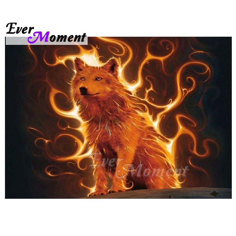 Ever Moment Diamond Painting Fire Wolf Full Square Drill 5D DIY Picture Of Rhinestone Mosaic Diamond Embroidery Decor ASF1585Ever Moment Diamond Painting Fire Wolf Full Square Drill 5D DIY Picture Of Rhinestone Mosaic Diamond Embroidery Decor ASF1585