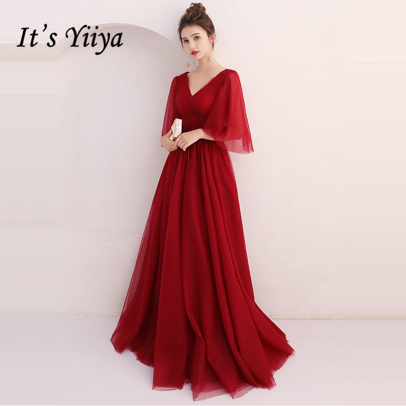 It's Yiiya   Evening     Dresses   2018 Wine Red V-Neck Half Sleeve Floor Length A-Line Fashion   Evening     Dress   Party Gown LX918