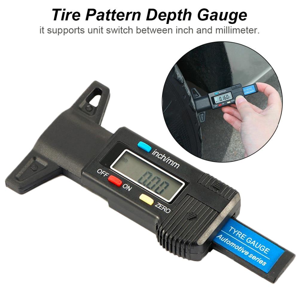 Car Tire Digital Tyre Tread Depth Tester Gauge Meter Measurer For Motorcycle Trucks Car Accessories 0-25.4mm/ 0.01mm