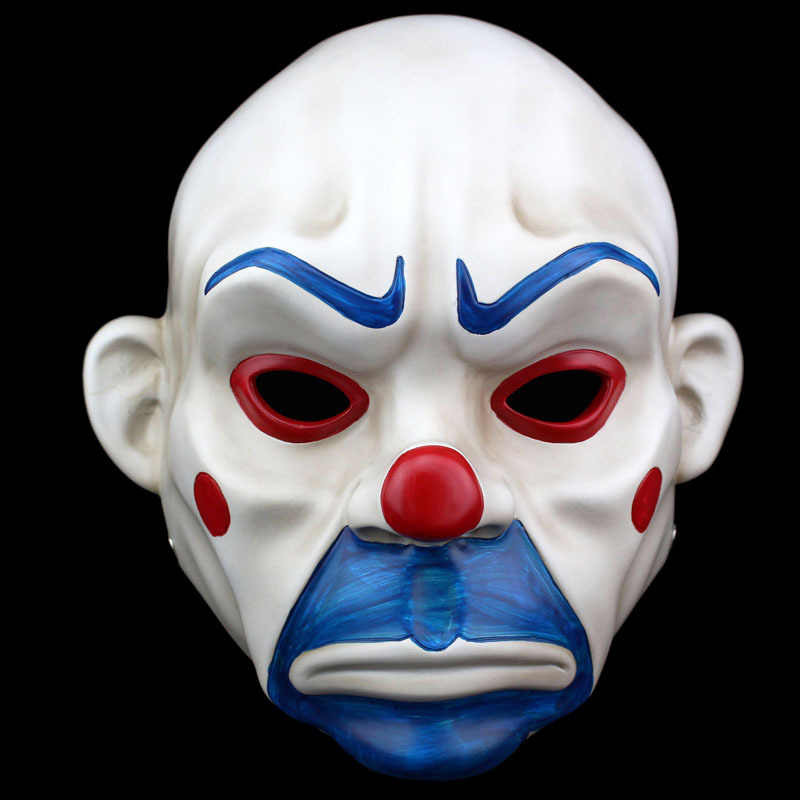 Batman Joker Mask Resin Mask Scary Batman Joker Clown Bank Robber Moive Dark Knight Cosplay Mask Halloween Masquerade Party Prop