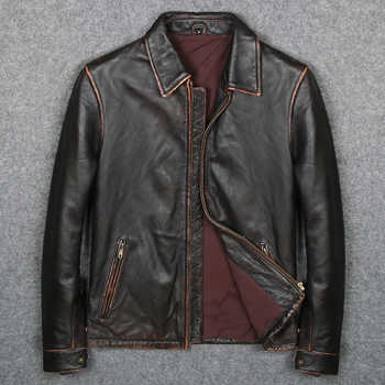Free shipping.Vintage Brand clothing men cow leather Jackets,men's genuine Leather biker jacket.casual homme Fitness plus size - DISCOUNT ITEM  6% OFF All Category