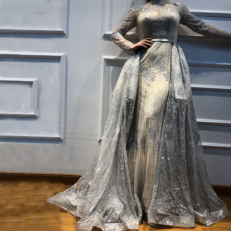 New Glitter   Evening     Dresses   Long Sleeves New Sequined Women Formal Gowns For Prom Wedding Party   Dresses   Robe De Soiree