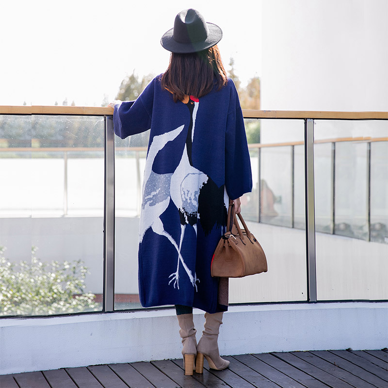 Cardigan Grue Wang Automne Pulls Whitney Femmes Pull Hiver Long 2018 Mode 2543 Streetwear Kimono Ww Oiseau Cardigans H1w66Yqx