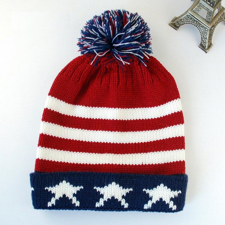 28e45211bed7 Women Men Winter Pom Poms ball Knitted Cap Unisex Casual USA American flag  Beanies Hat British flag Skullies Beanie hat Gorros-in Skullies   Beanies  from ...