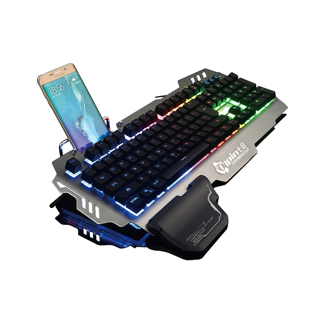 PK900 English and Russian Bilingual RGB Backlit Wired Gaming Keyboard Transparent Switch Mechanical-Similar Typing Gaming