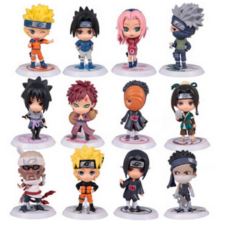 12 Pcs/set Naruto Action Figure Q Edition Sasuke Figurine Anime 7cm PVC Model Doll Collection Children Baby Kids Toys