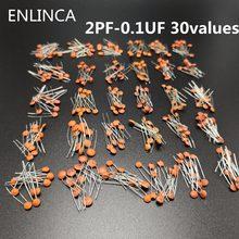 Capacitor de cerâmica, 300 pçs/lote 50 v 2pf-0.1uf 30 valores esx10pçs capacitor de cerâmica kit de componentes eletrônicos 2pf 30pf 100pf 1nf 10nfc