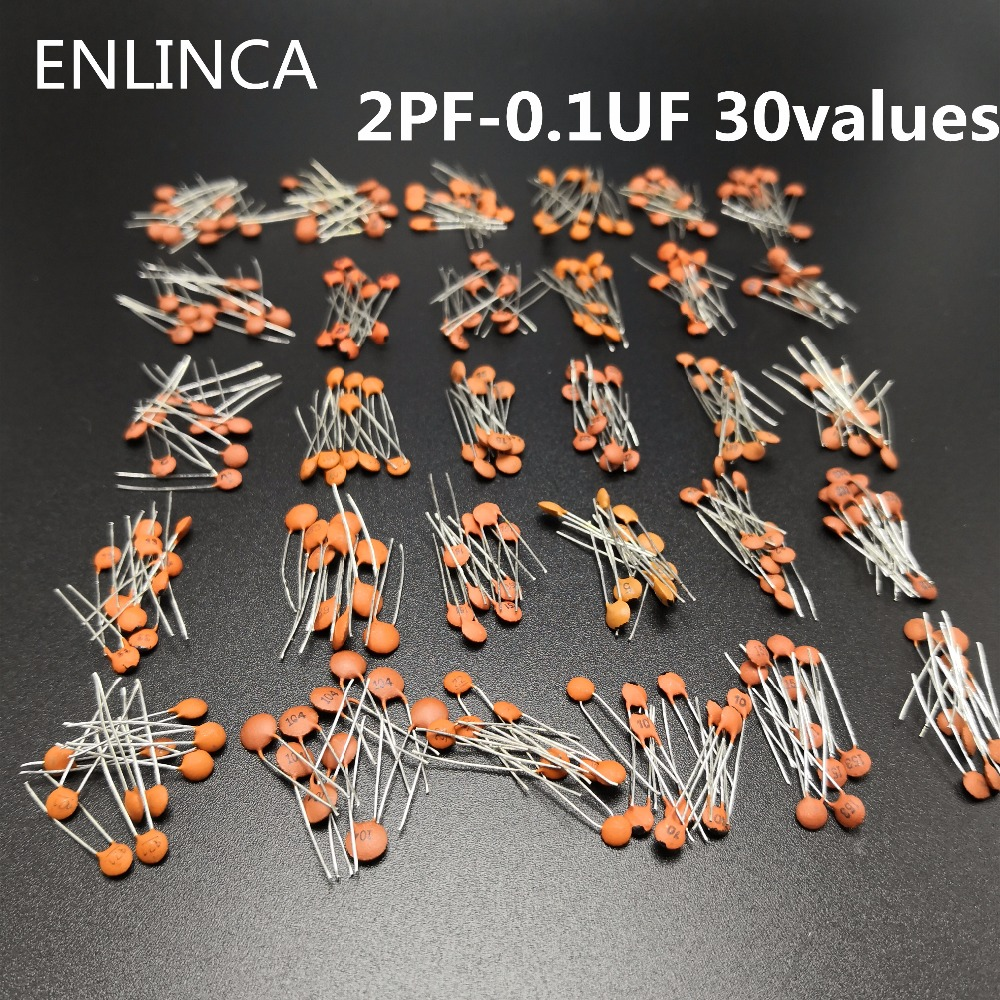 300pcs/lot 50V 2PF-0.1UF 30 ValuesX10pcs Ceramic Capacitor Assorted Kit Electronic Components Package 2pF 30pF 100pF 1nF 10nF