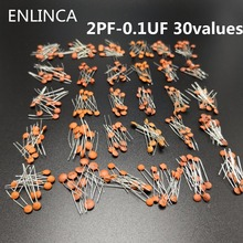 300pcs/lot 50V 2PF 0.1UF 30 valuesX10pcs ceramic capacitor Assorted Kit Electronic Components Package 2pF 30pF 100pF 1nF 10nF
