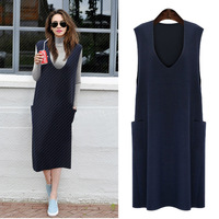 2018 New spring summer women dress show thin Korean style solid sundress with the pockets knitting cotton plus size L 5XL