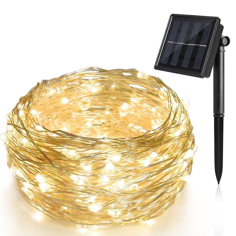 1pcs 20m 200leds Copper wire solar indoor LED copper string lights outdoor home waterproof lights with landscape garden lighting ...