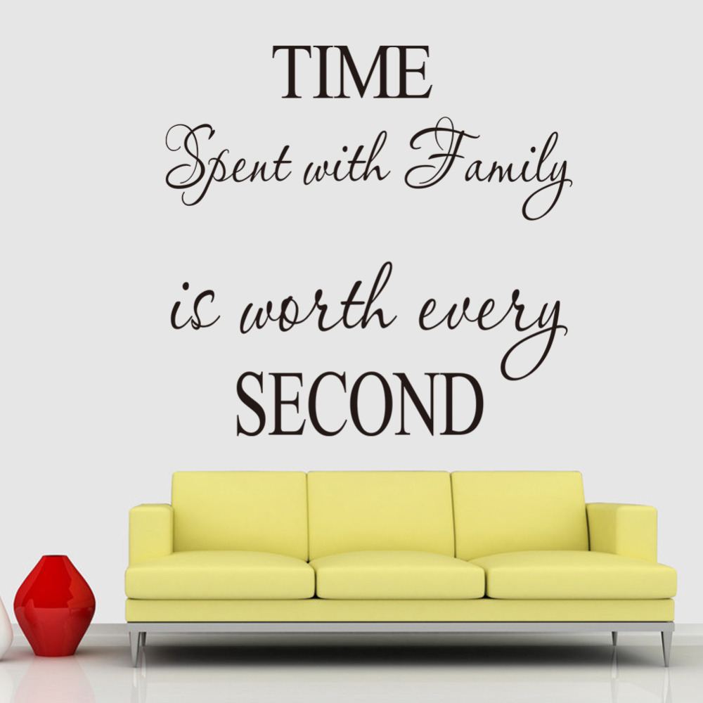 Time spent with family is worth every second wall decorations time spent with family is worth every second wall decorations living room wall decals quotes family quote sticker zy8218b in wall stickers from home amipublicfo Choice Image