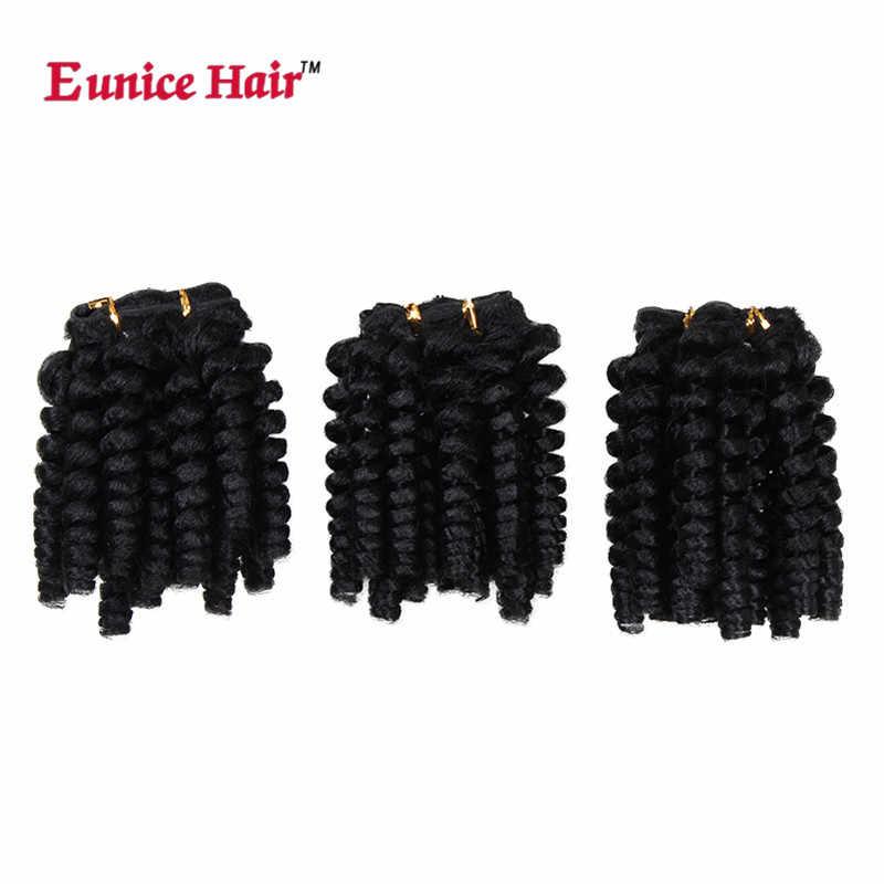 """Eunice волосы 3 упаковки/лот афро Вьющееся кружево плетение волос kanekalon черный синтетический Уток Наращивание волос 20 """"волосы Weavings"""