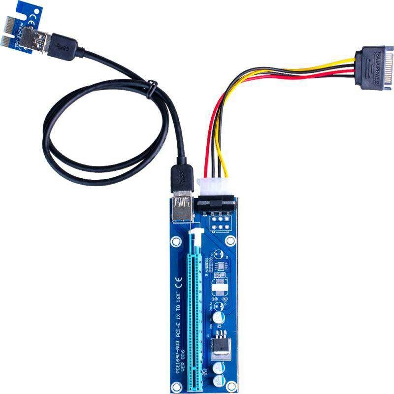 Super stable PCI-E PCI E Express 1x to 16x graphics Card Riser Extender Adapter VER006 For Bitcoin BTC Miner Machine