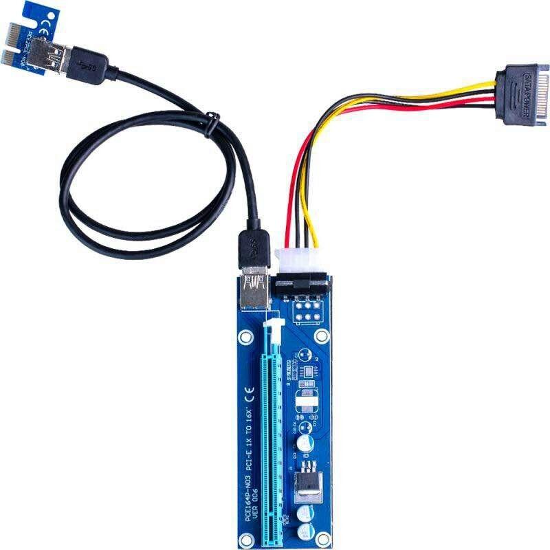Super stable PCI-E PCI E Express 1x à 16x Carte graphique Riser Extender Adaptateur VER006 Pour Bitcoin BTC Mineur Machine