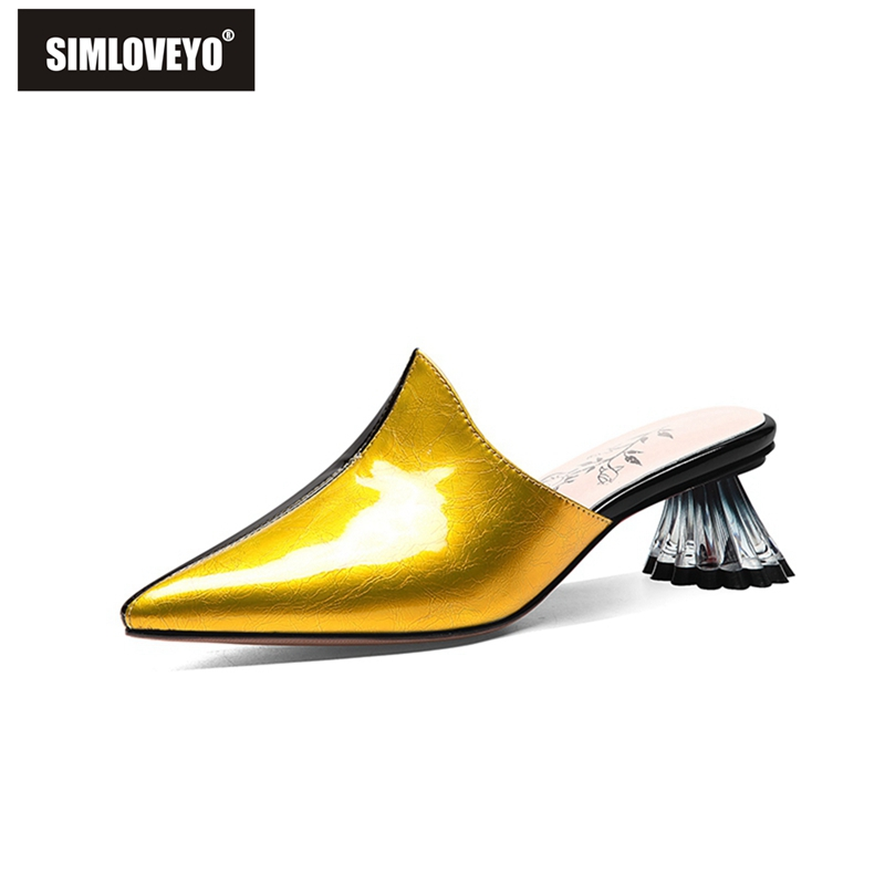 SIMLOVEYO 2019 Women Yellow Genuine Leather Sandals Pointed Toe Zapatos De Mujer Strange Transparent Clear High