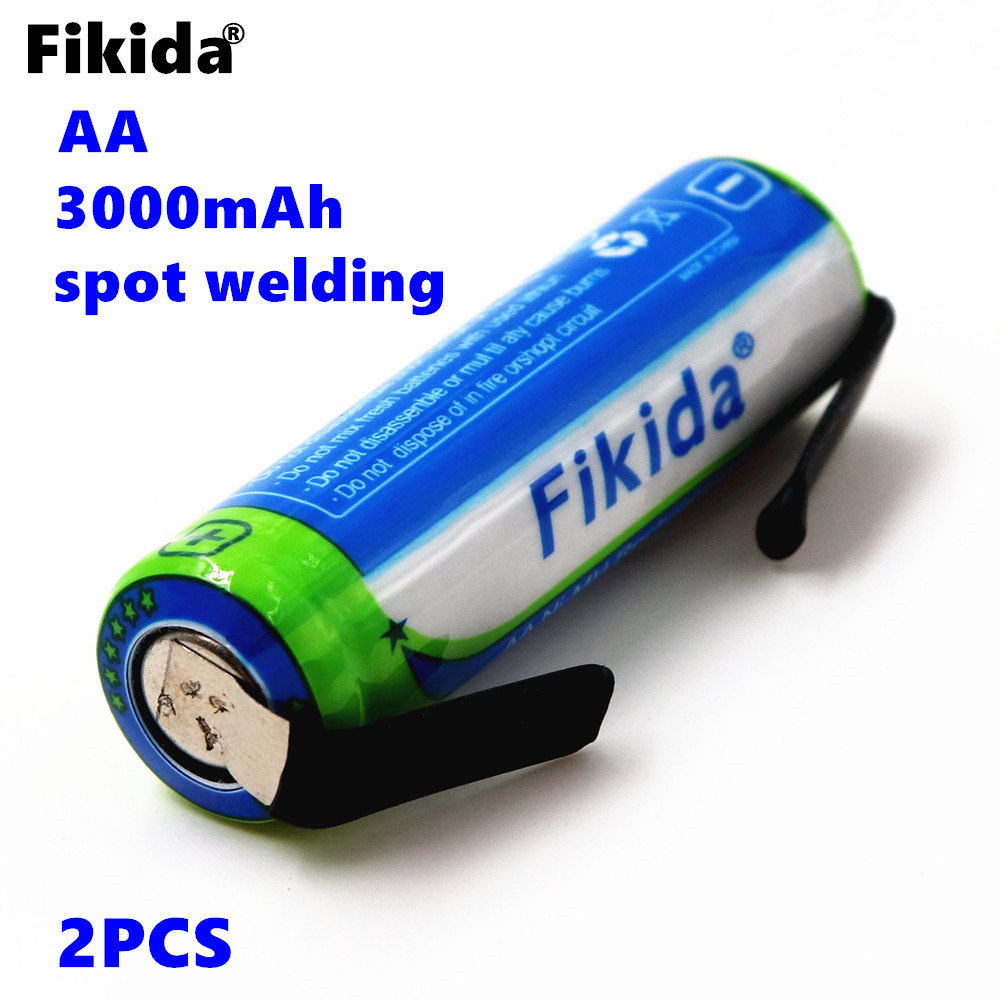 2PCS Fikida AA Rechargeable Battery 1.2V 3000mah NiMH 14430 Battery with Solder Pins for DIY Electric Razor Toothbrush Toys стоимость