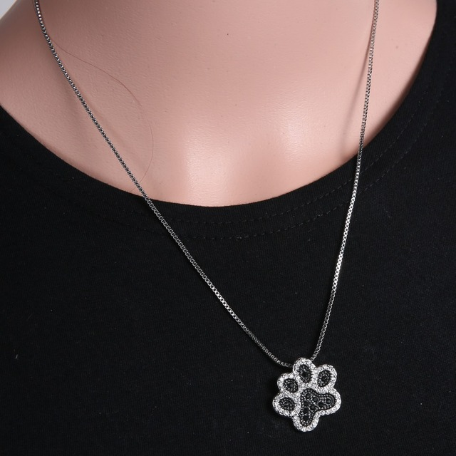 Dog paw prints Pendant Necklace Personalized charming Fashion jewelry Silver plated Black and White crystal rhinestone Dog Paw 3