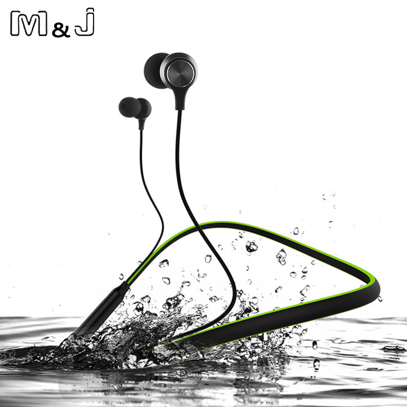 12 Hour Playtime Curled Stereo Wireless Bluetooth Headphone Outdoor Sports Premium Neckband Magnetic Earphone With Mic For Phone