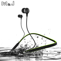 12 Hour Playtime Curled Stereo Wireless Bluetooth Headphone Outdoor Sports Premium Neckband Magnetic Earphone With Mic