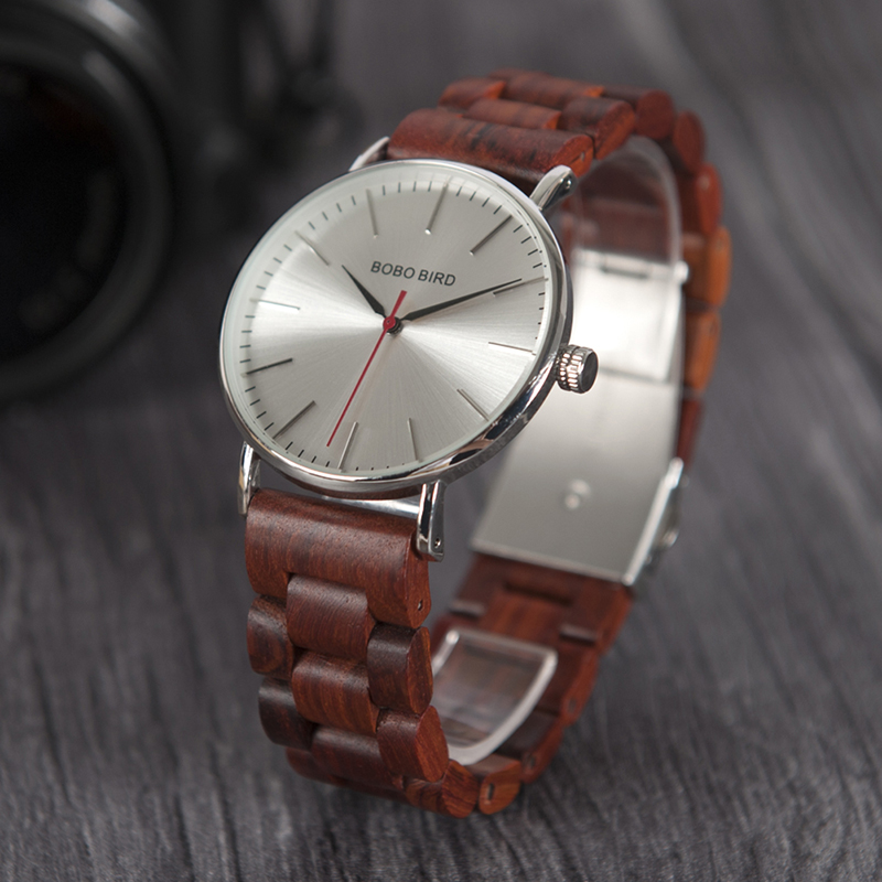 BOBO BIRD Metal case with wooden Fold strap Quartz Watches For Men or Women gifts watch send with wood box custom logo clock bobo bird wh05 brand design classic ebony wooden mens watch full wood strap quartz watches lightweight gift for men in wood box