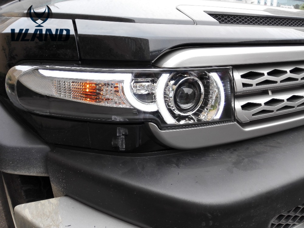 Free shipping for Vland car head lamp For Toyota FJ Crusier LED headlight 2007-2015 With middle Grille H7 Xenon lens free shipping for vland factory for car head lamp for audi for a3 led headlight 2008 2009 2010 2011 2012 year h7 xenon lens