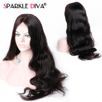 13*4 Lace Front Human Hair Wigs Brazilian Body Wave Middle Part Wigs Full End Lace Frontal Wigs For Women Black Color Remy Hair