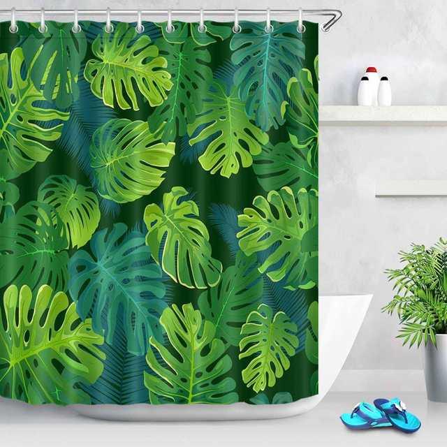 Lb 72 Waterproof Tropical Plants Palm Monster Leaves Green