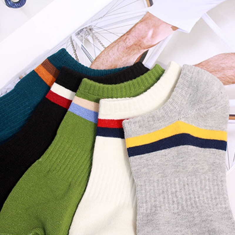 PEONFLY Fashion casual Cotton Low Cut Socks Men Brand Design Two Stripes Solid Color Comfortable Breathable Short Ankle Socks