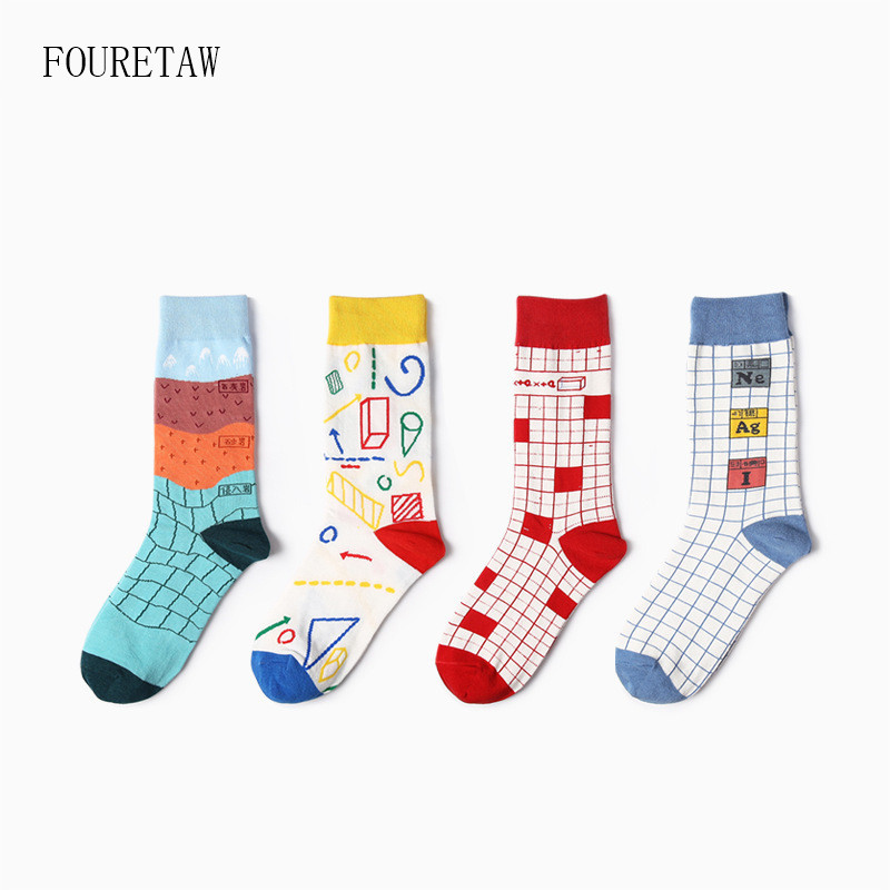 Fouretaw 1 Pair Street Fashion Japanese Harajuku Style Super Scholar Graffiti Pattern Cotton Personality Love Unisex Mens Socks To Be Highly Praised And Appreciated By The Consuming Public Men's Socks
