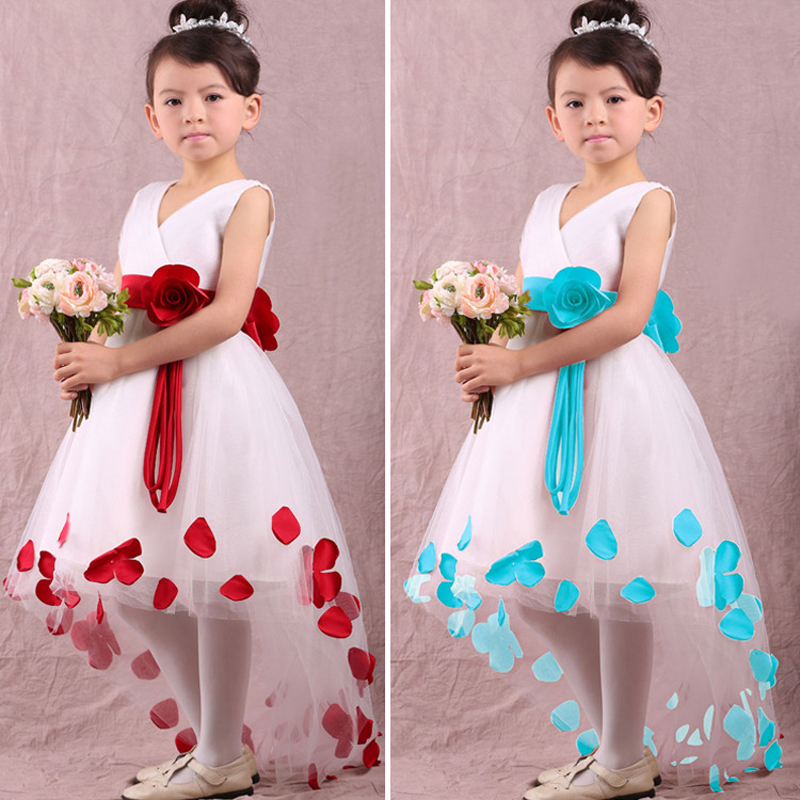 2017 Infant Baby Toddler Girls Flower Petals Wedding Bridesmaid Flower Girl Formal Pageant Princess Party Dress Photo Props kids girls bridesmaid wedding toddler baby girl princess dress sleeveless sequin flower prom party ball gown formal party xd24 c
