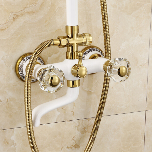 Merveilleux Luxury High Quality Gold U0026 White Bathroom Rainfall Shower Set, Shower  Faucet Euro Style Bath U0026 Shower Faucet Set, Wall Mounted In Shower Faucets  From Home ...