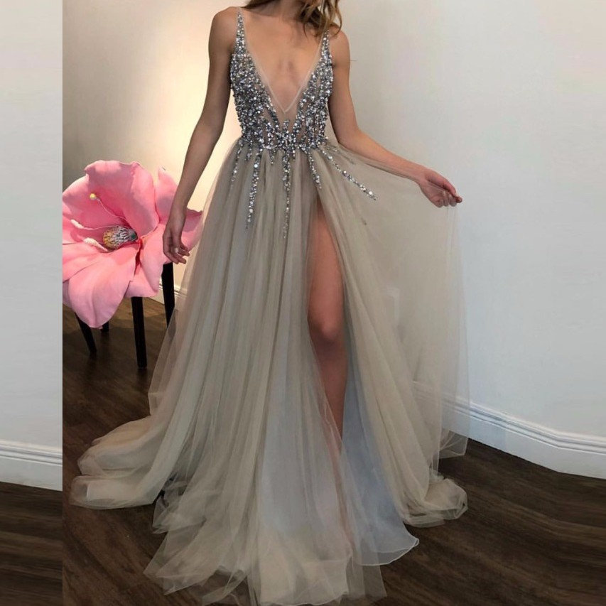 Sexy Evening Dresses Tulle Formal Dress Long Custom Made Evening Gowns Sequins Crystals Vestido De Festa Longo Pageant Gown