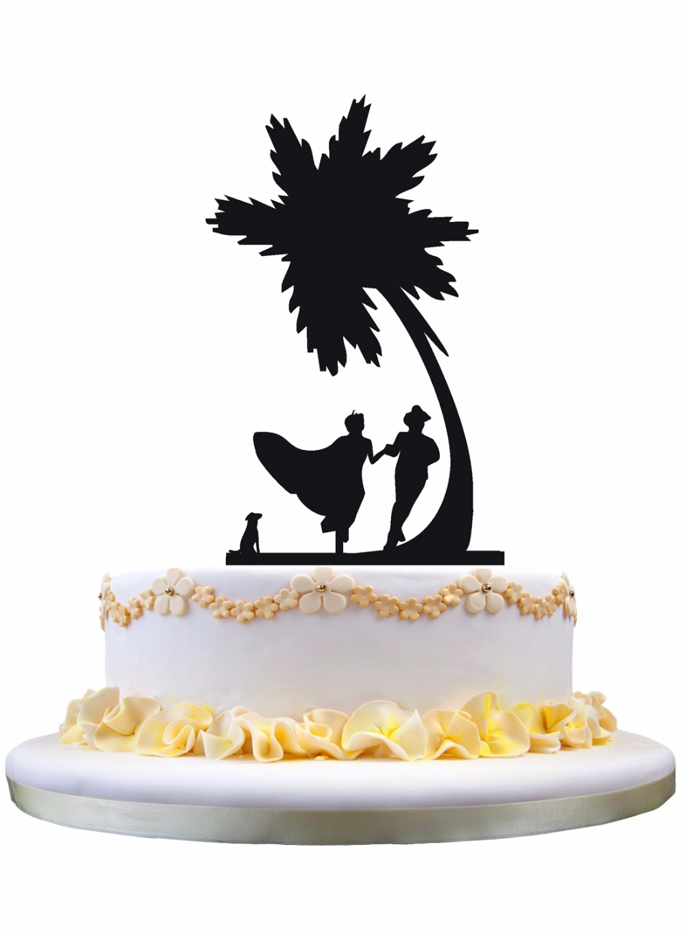 Cake Cupcake Toppers Meijiafei Bride And Groom Under Palm Tree In Beach Wedding Topper