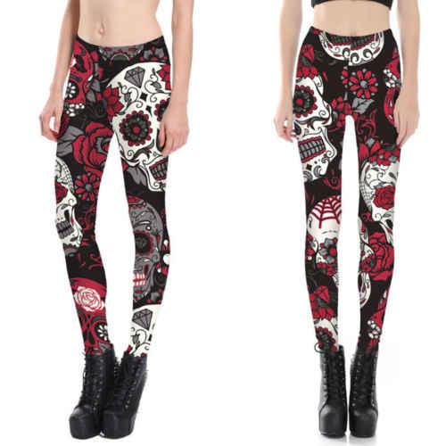 81dcf6b764 New Style Fashion Womens Basic Print Leggings Stretch Pants New Long Full  Length Size S M L XL Hot