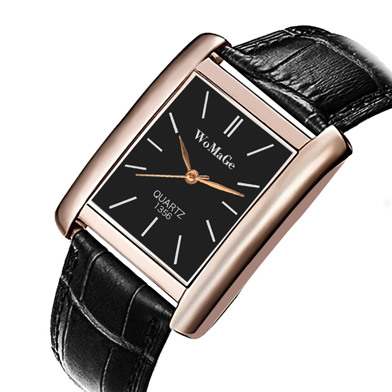 Rose Gold Rectangle Women Watches Luxury Brand Womage Wrist Watches For Women Girl Fashion Quartz Watch Unisex Clock Reloj Mujer
