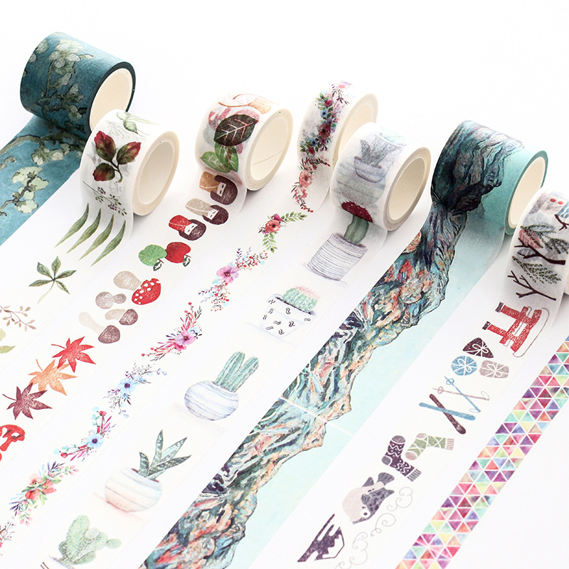 Cartoon Decoration Washi Paper Tape Flower Freshness Self-adhesive Creative Japanese Techo Sticker