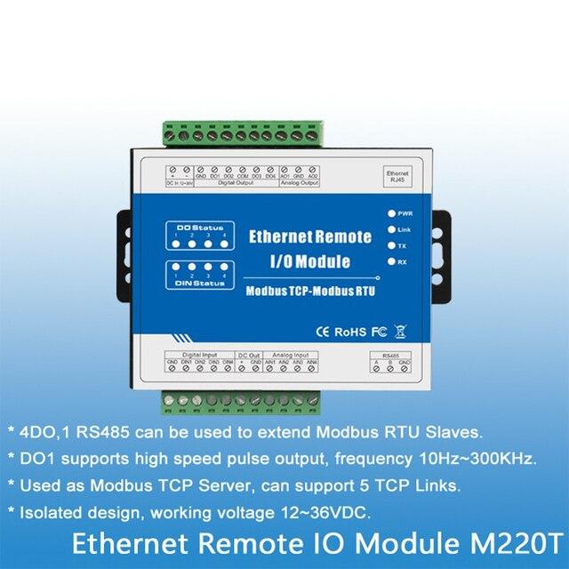 Ethernet RJ45 Modbus TCP Sever 4 релейных выхода Modbus RTU/ASCII мастер  продлить I/O M220T