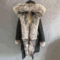 2018 new luxury black women winter coat with big hoody natural silver fox fur collar trim thick large size parkas middle long