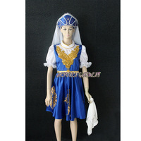 High Quality Women Or Kids Customized Russian Folk Dance Costume Dress With Headwear Head Scarf and Handkerchief Free Shipping