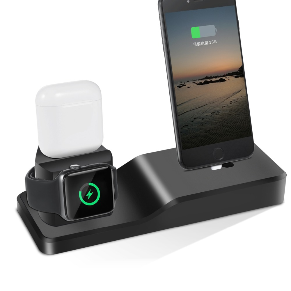 2110d3be86485c 3in1 Stand For Apple Watch Stand For iPhone X 6 6S 7 8 Plus SE Airpods