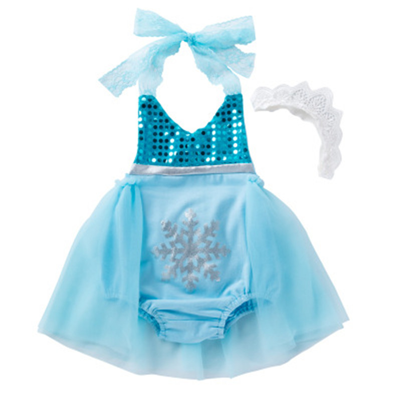 Halloween Baby Girls Sequins Tutu Summer Queen Elsa Baby Rompers One-Pieces Snowflake Toddler Baby Clothing Costume Girl Rompers