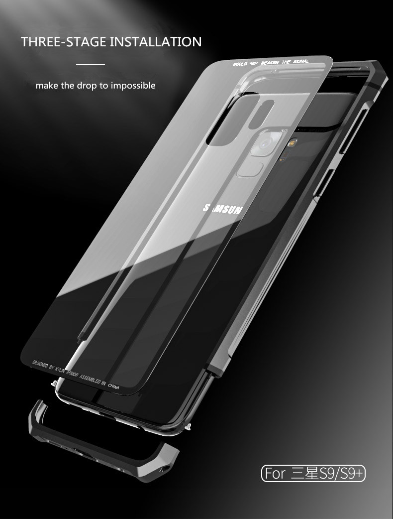 Samsung S9 Plus Shockproof case clear tempered glass back cover  diamond metal bumper (7)
