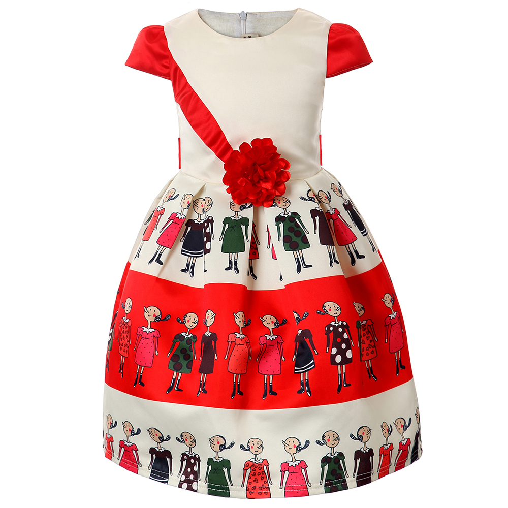 2017 Girl print princess Dress Kids Birthday Wedding Party Dresses Costume Children Christmas clothing Baby girls Clothes