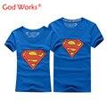 2016 La Venta Caliente Superman Camiseta Hombres Y Mujeres Amantes de la Ropa Ocasional O Cuello Manga Corta Camisetas Para Parejas