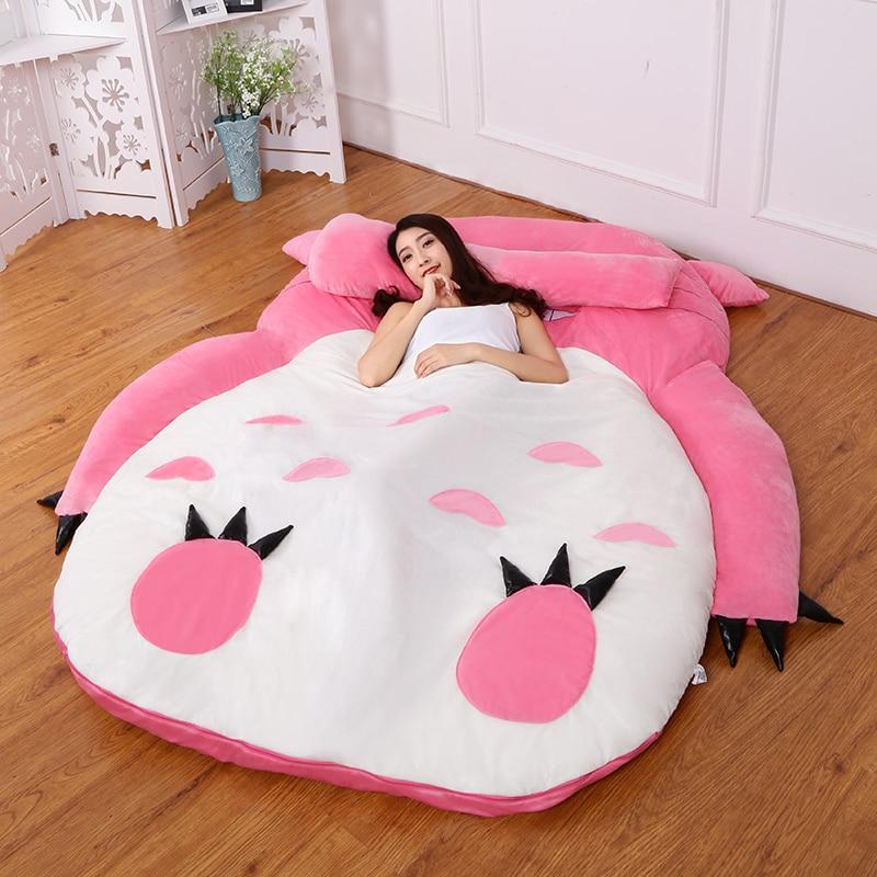 5 Colors Large Totoro Single and Double Bed Giant Totoro Bed Mattress Cushion Plush Mattress Pad Tatami Cushion Beanbag matelas mattress